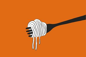 Spaghetti and fork background