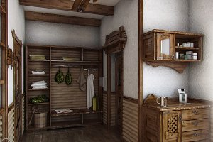 Country style interior, 3D render