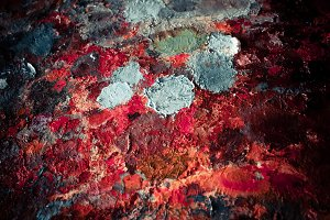 Oil-paint palette closeup