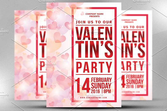 Valentine Party Flyer Template in Flyer Templates