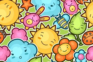 Seamless kawaii child patterns.