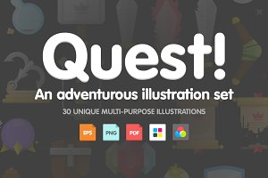 Quest! Adventurous illustration set