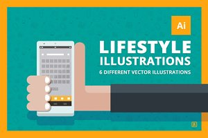 "6 ""lifestyle"" Vector illustrations"