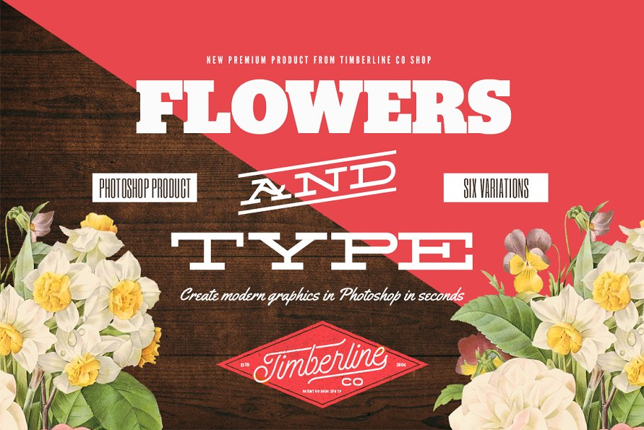 Flowers And Type ~ Photoshop Add-Ons ~ Creative Market