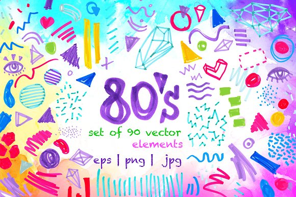 80's Style: 90 Vector Elements