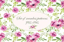 Floral set. Seamless patterns