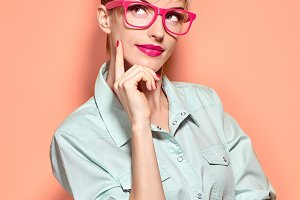 Beauty fashion woman thinking,glases