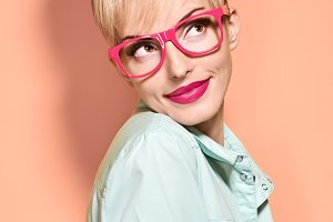 Beauty fashion woman smiling,glases