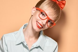 Beauty fashion woman glases, nerd