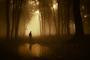 Silhouette of man in forest with fog