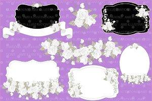 Clipart White Rose Frames, AMB-1115