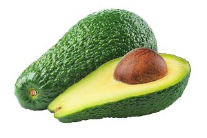 Isolated cut avocado fruits
