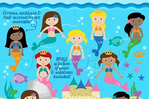 Mermaid Clipart and Vectors