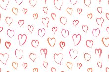 Pink hand drawn hearts on white