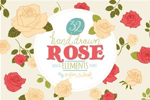 Hand Drawn Rose Elements Vector