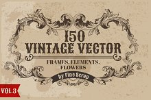 150 Vintage Vector Elements. Vol3.
