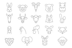 Vector Animal Faces