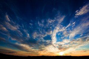 Dramatic sunset sky over Tuscany.