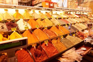 Spices on Turkish market stall
