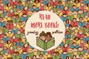 Reading kids - Seamless Pattern
