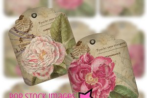 Shabby Chic Rose French Ephemera Tag