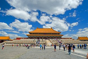 Forbidden City with tourists