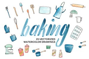 Vector Watercolor Baking Supplies