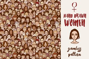 Women - Seamless Pattern, hand drawn