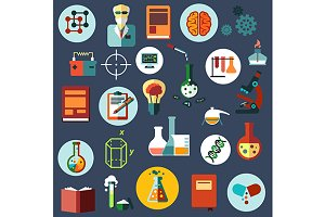 Science and research flat icons