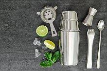 Cocktail shaker aperitif ingredients