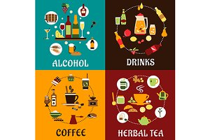 Beverage and drinks flat icons