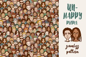 Unhappy People - Seamless Pattern
