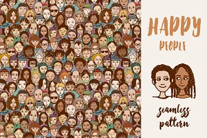 Happy People - Seamless Pattern