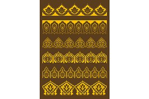 Golden decorative arabesque borders