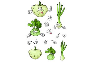 Onion, pattypan squash, kohlrabi