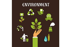 Conservation, environment flat icons
