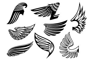 Heraldic black and white angel wings