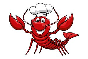 Happy cartoon red lobster chef