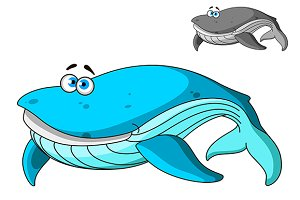 Blue cartoon whale