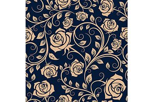 Blooming rose bush seamless pattern
