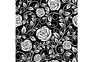 White roses seamless pattern