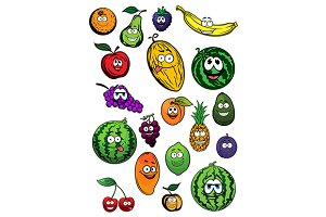 Fresh and ripe cartoon fruits