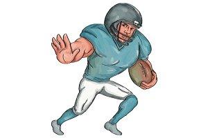 American Football Player Stiff Arm