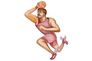 Basketball PLayer Dunking Watercolor