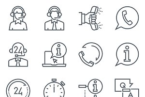 Support and tele marketting icon set