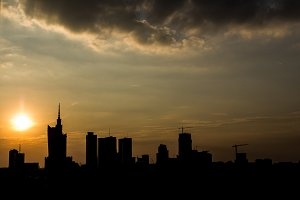 Sunset skyline of Warsaw