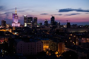 Sunset skyline of Warsaw #3