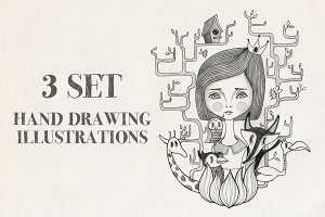 3 hand drawing illustrations vol.01