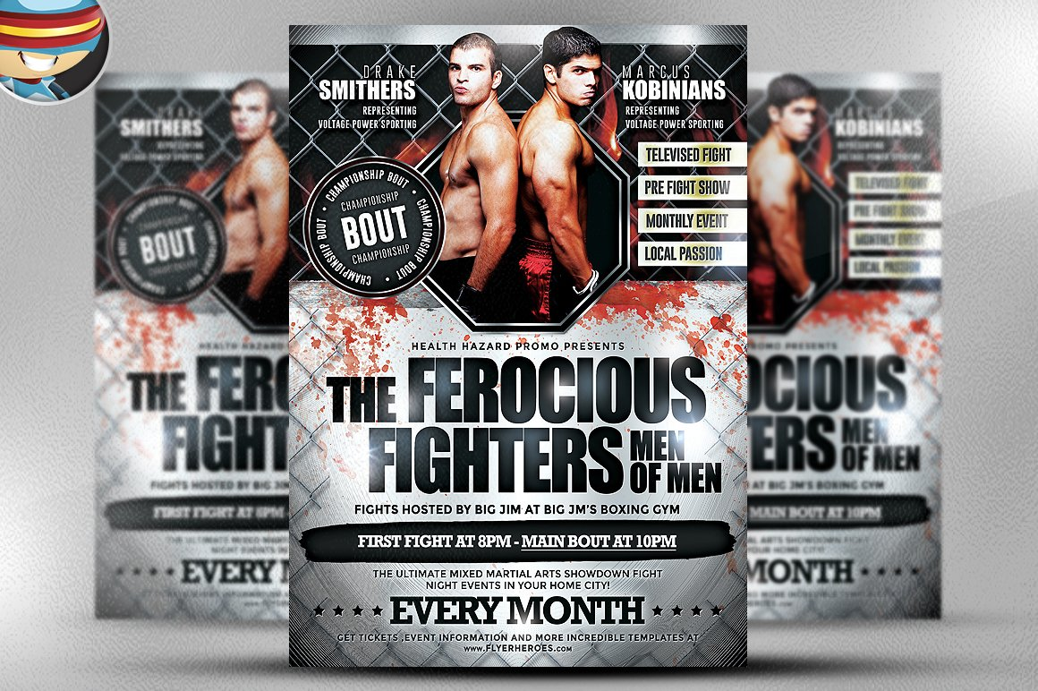 Ferocious Fighters Flyer Template Flyer Templates on Creative Market – Ufc Flyer Template