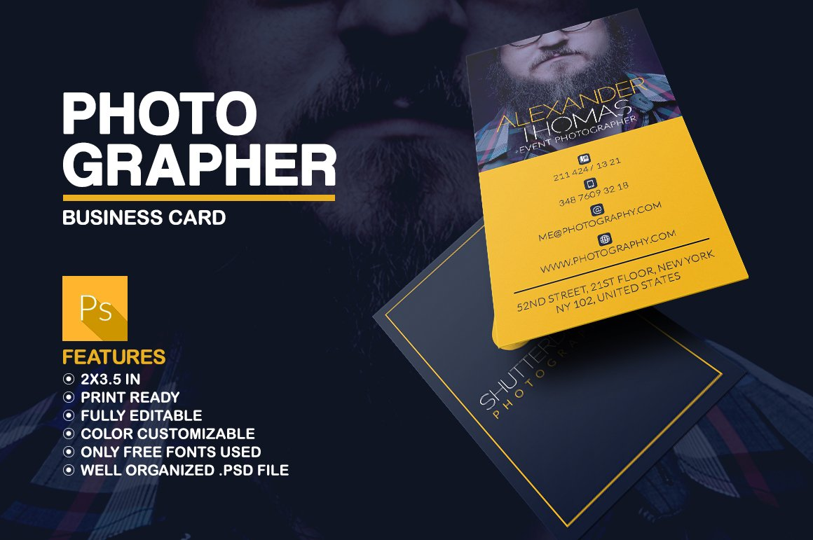 Photographer business card business card templates creative market flashek Images
